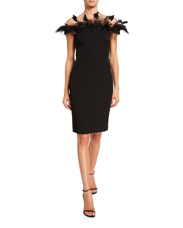 Badgley Mischka Dresses OFF-THE-SHOULDER CREPE SHEATH DRESS W/ FEATHERS