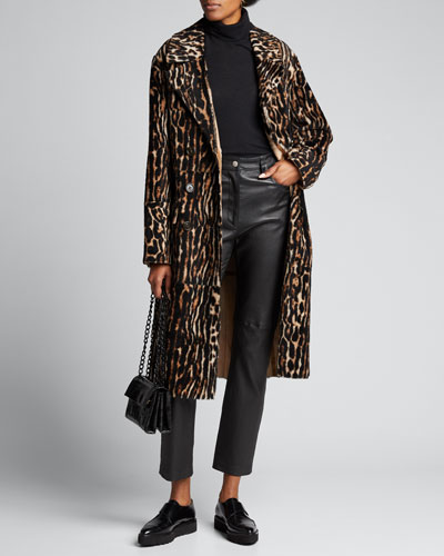 Long Animal-Print Lamb Shearling Coat