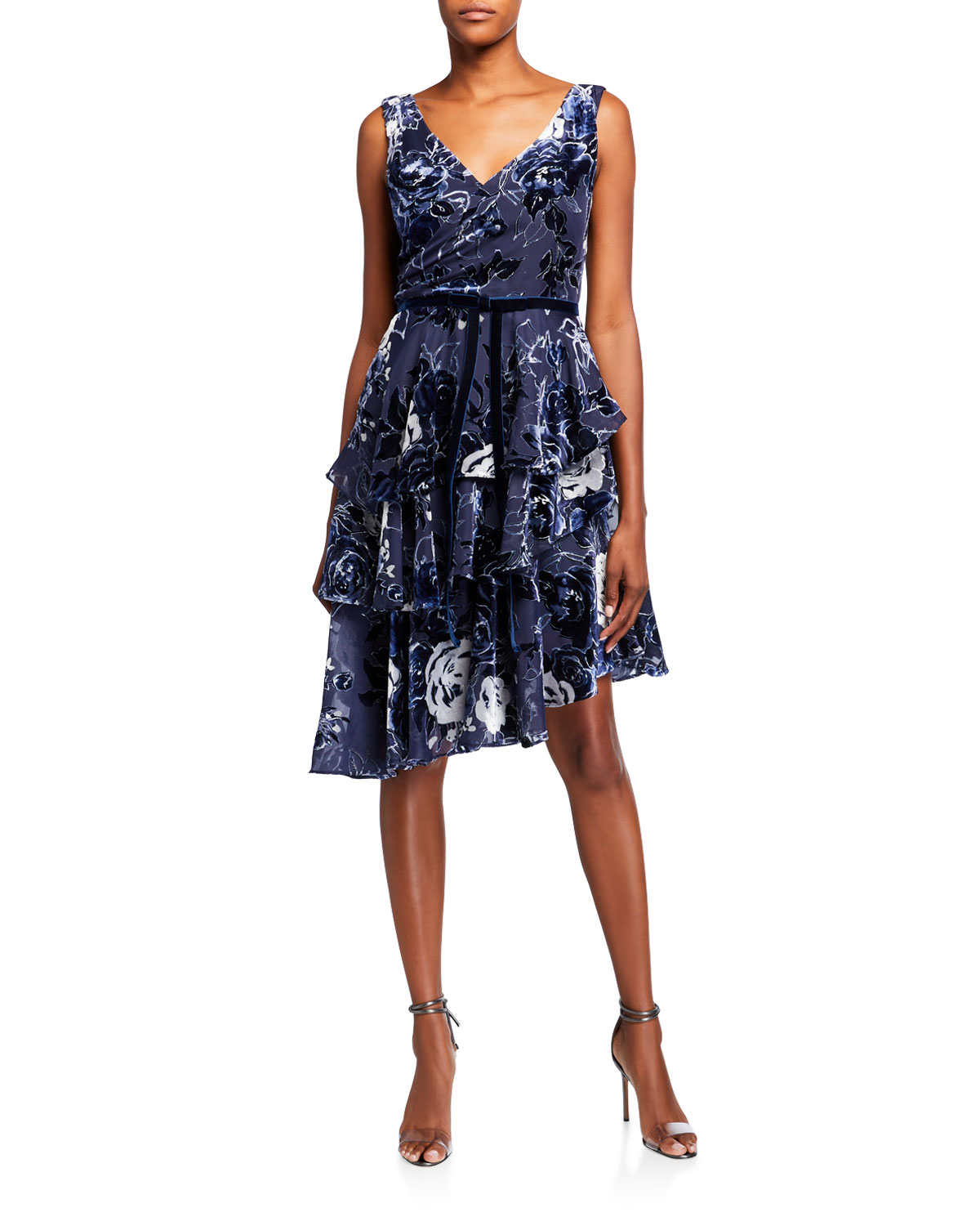 Marchesa Notte Downs SLEEVELESS VELVET BURNOUT CHIFFON DRESS W/ TIERED SKIRT