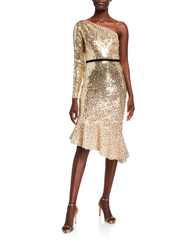 Degrade Sequin One-Shoulder Dress w/ Asymmetrical Ruffle Hem