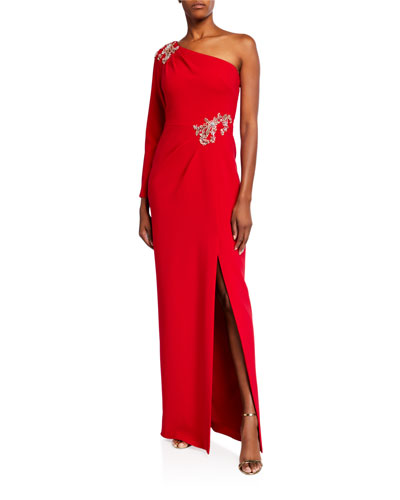 One-Shoulder Stretch Crepe Gown w/ Beaded Details