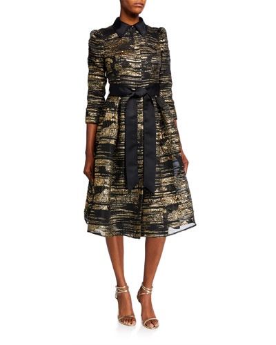 Metallic Striped Organza 3/4-Sleeve Shirtdress