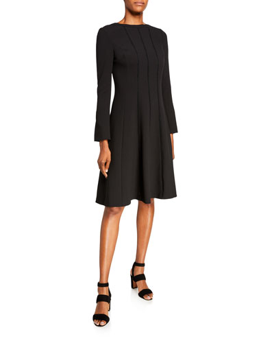 Jewel Neck Long-Sleeve Stitched Crepe Dress