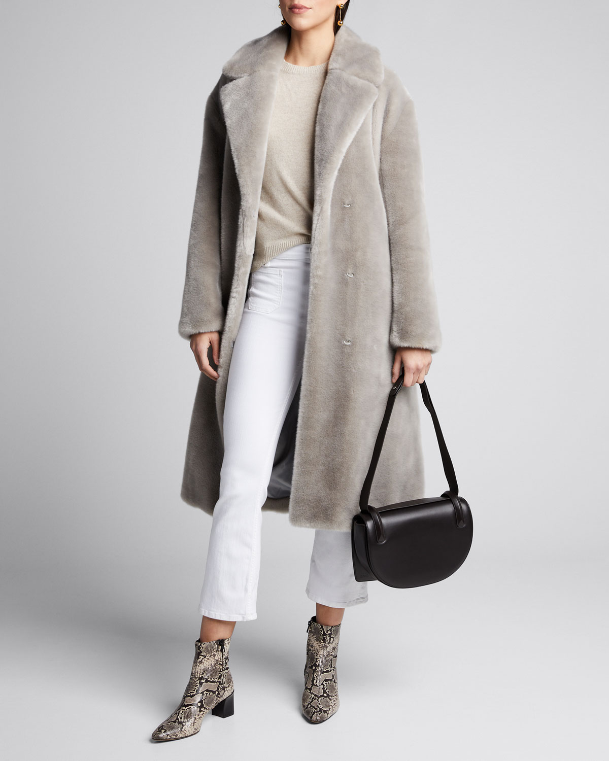 Tibi Coats LUXE FAUX-FUR OVERSIZED TRENCH COAT