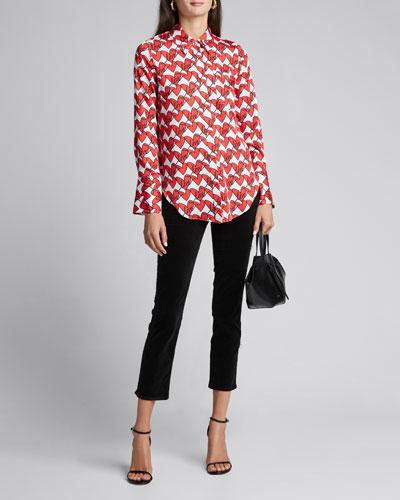Love Heart Print Wide-Sleeve Button-Up Twill Shirt