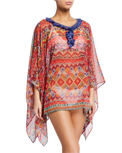 Tassel-Collar Watercolor Printed Coverup Poncho