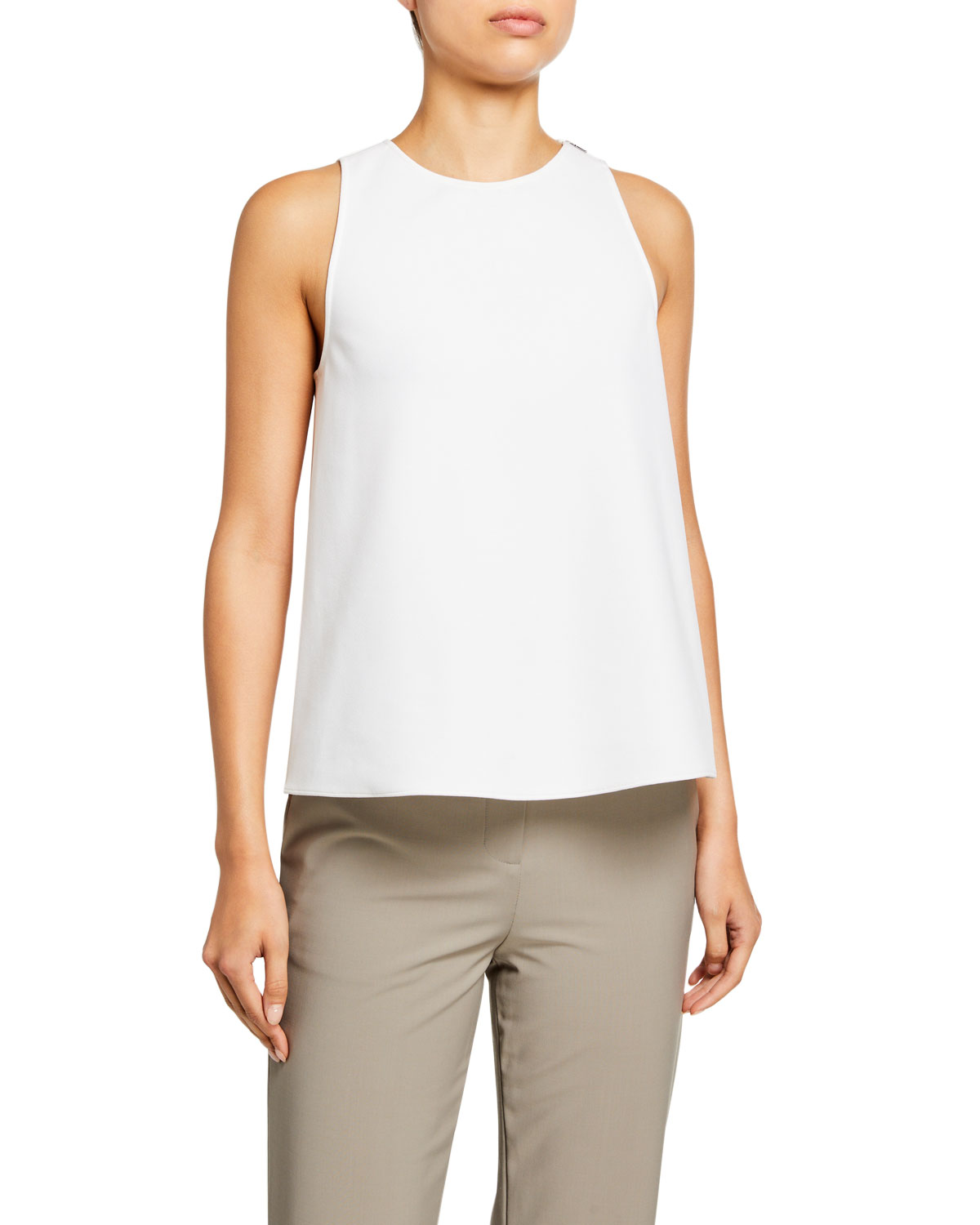 Tibi Tops STRUCTURED CREPE TANK WITH TWIST-BACK DETAIL