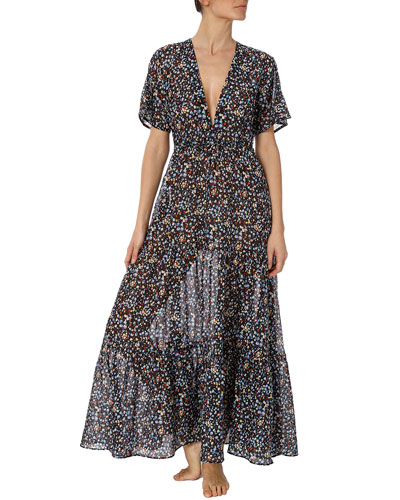 Pebble-Print Cutout Long Coverup Dress