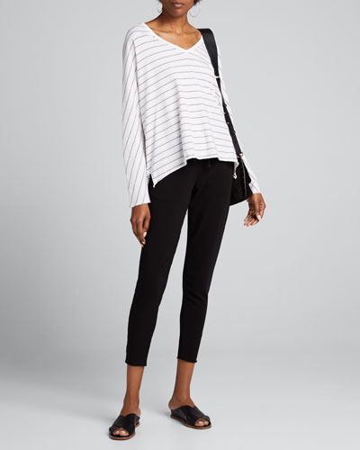 Striped Deep V-Neck Long-Sleeve Tee