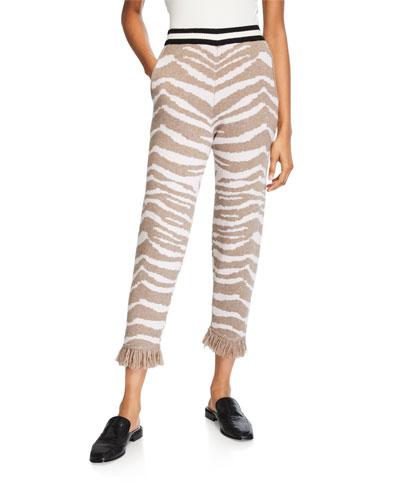 Hazel Zebra-Print Cashmere Fringe Pants