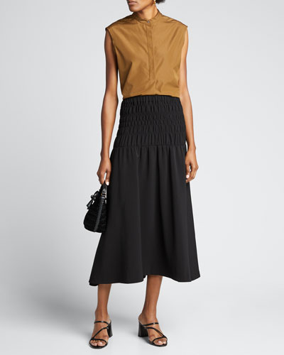 Greta Smocked Midi Skirt