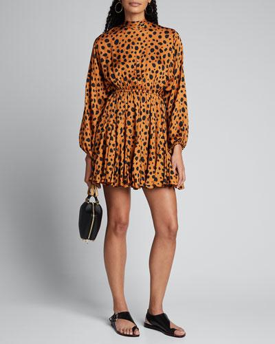 Caroline Printed Satin High-Neck Dress