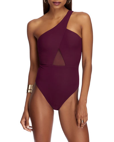One-Shoulder Mesh-Inset One-Piece Swimsuit