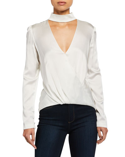 Raquel Mock-Neck High-Low Silk Cutout Top