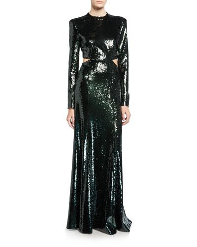 Gabriela Sequined Cutout Long-Sleeve Gown