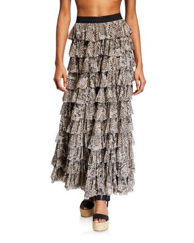 Tiered Ruffle Coverup Skirt