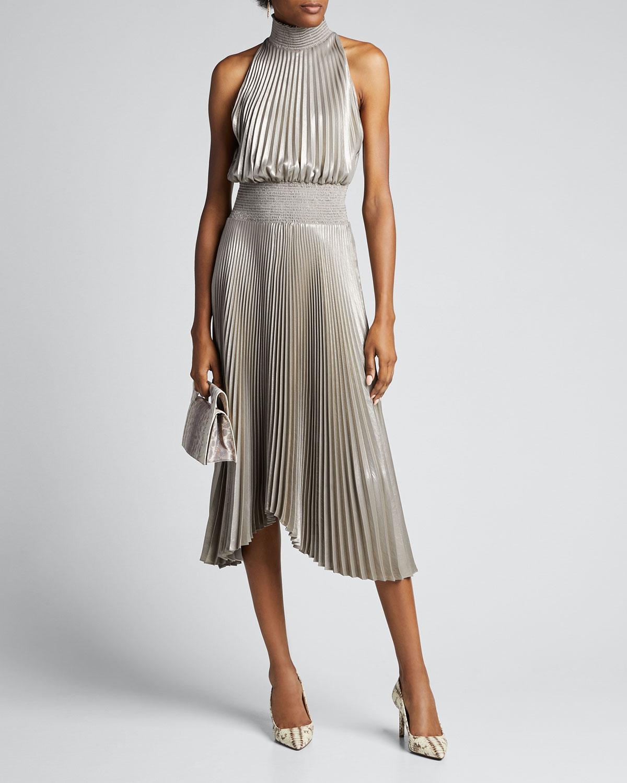 A.l.c Dresses RENZO HALTER-NECK PLISSE DRESS