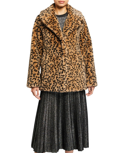 Stone Faux-Fur Coat