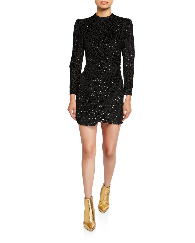 A.l.c Dresses JANE METALLIC VELVET BURNOUT MINI DRESS