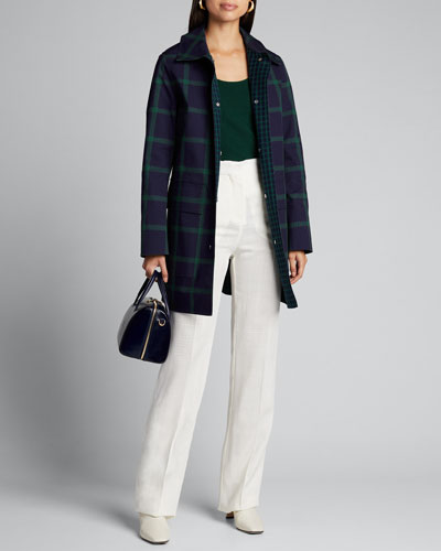 Mckinleigh Crosshatch Cotton Plaid Button-Front Coat