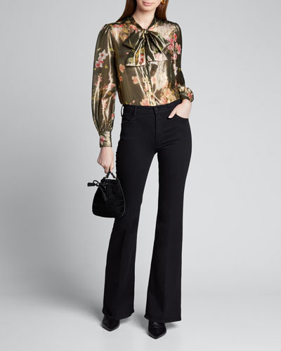 Floral-Print Metallic Tie-Neck Blouse