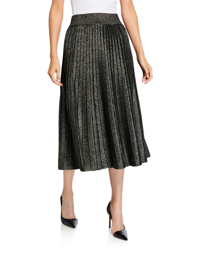 Nevada Metallic Pleated Midi Skirt