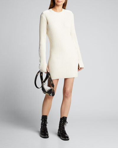 Long-Sleeve Ribbed Patch Dress