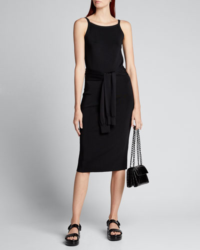 Tie-Waist Sleeveless Midi Dress