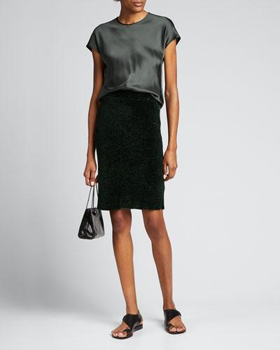 Ribbed Velvet Pencil Skirt