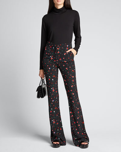 Odessa Slim Flare Printed Trousers