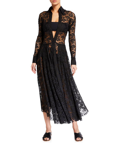 Flared Lace Long-Sleeve Coverup Dress