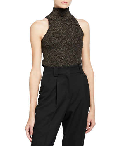 Susanna Metallic Sleeveless Turtleneck Top