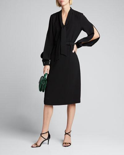 Genevive Split Sleeve Finesse Crepe Belted Dress