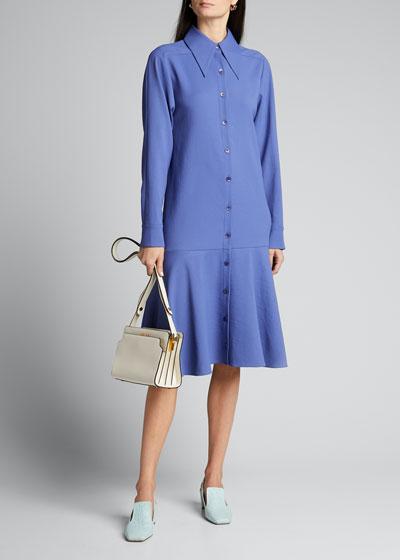 Chalky Drape Shirtdress With Flounce