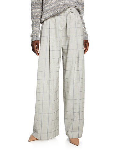 Cumberland Infinity Plaid Belted Wide-Leg Pants
