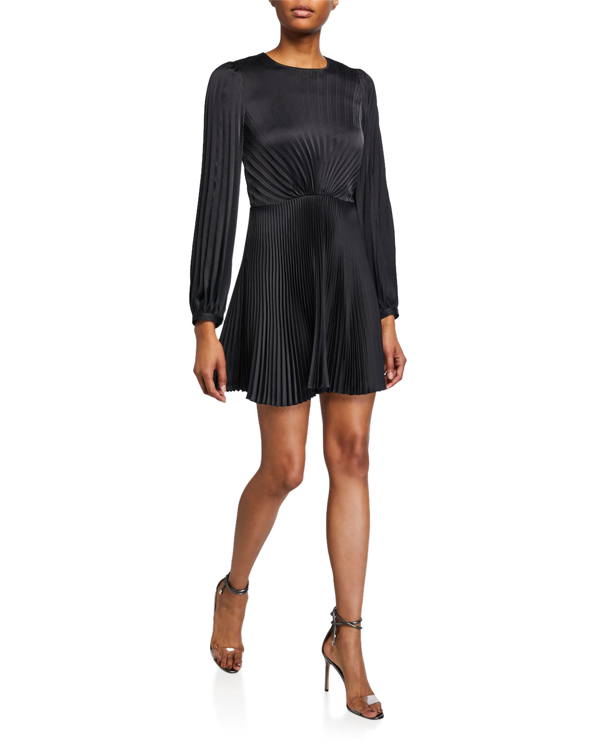 A.l.c Dresses TAVI PLEATED LONG-SLEEVE SHORT DRESS