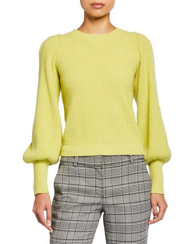 Eliana Crewneck Bishop-Sleeve Sweater