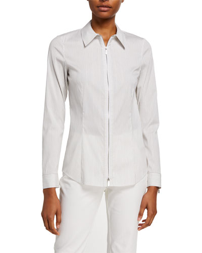 Connor Glistening Stripe Zip-Front Shirting Blouse