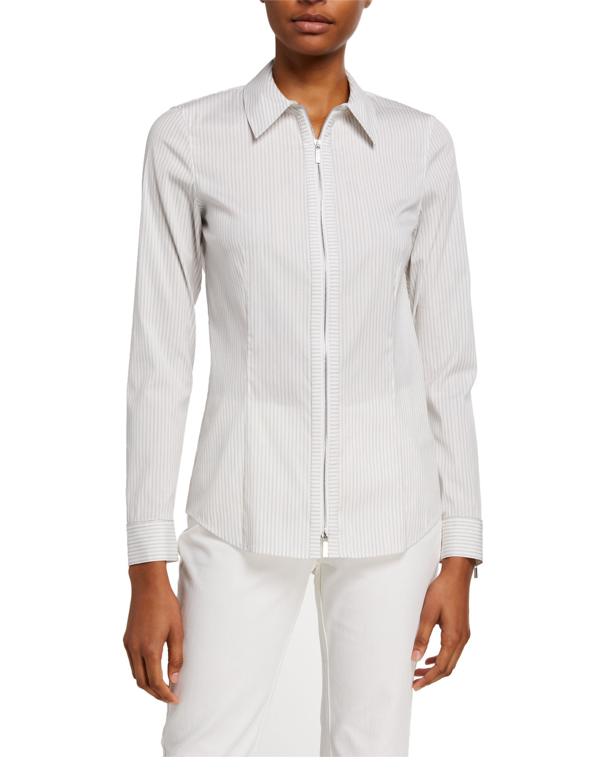 Lafayette 148 Tops CONNOR GLISTENING STRIPE ZIP-FRONT SHIRTING BLOUSE