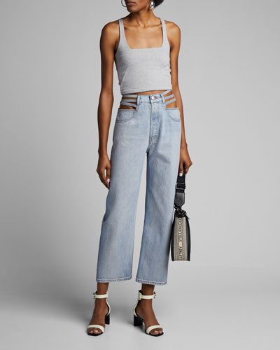 Willow Waist-Cutout Wide-Leg Jeans