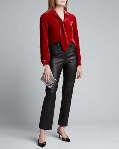Gisele Tie-Neck Velvet Button-Down Blouse