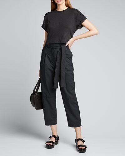 Kima Short-Sleeve Linen Crop Top