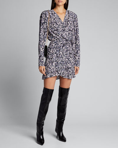 Brasey Abstract Print Jersey Long-Sleeve Dress