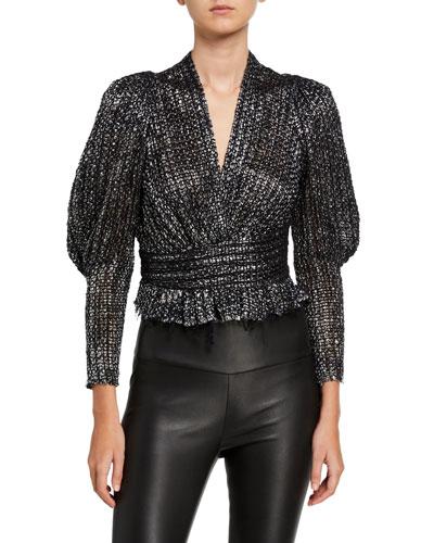 Guarda Metallic Tweed Blouse