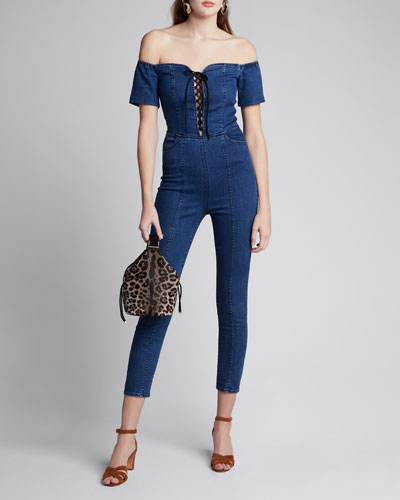 Camille Off-the-Shoulder Lace-Up Denim Jumpsuit