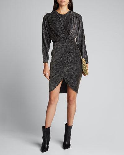 Magnus Ribbed Metallic Long-Sleeve Dress