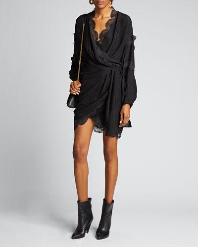 Ragna Jacquard Wrap Dress with Lace Trim