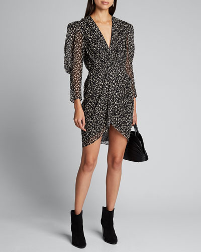 Victoria Printed Puff-Sleeve Dress