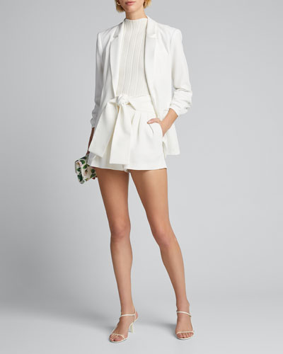 Tynasa Pleated Tie-Waist Shorts