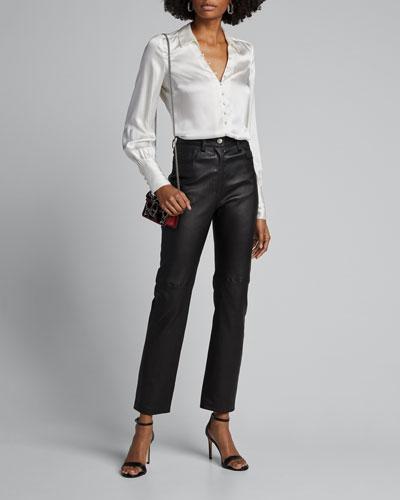 Naomi Button-Loop Silk Blouse